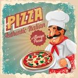 Pizza sztandaru retro szef kuchni ilustracji