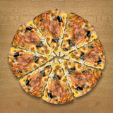 Pizza on table stock photography