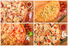 Pizza on the table. Still life. Homemade pizza and ingridients on the table royalty free stock photo