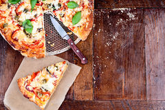 Pizza on a table Royalty Free Stock Image