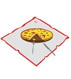 Pizza tagliata su un tovagliolo Fotografia Stock Libera da Diritti