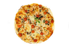 Pizza. Tasty shrimps pizza with garlic and green onion royalty free stock photography