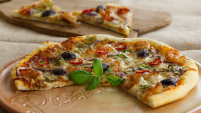 Pizza. Tasty pizza with shrimps and herbs stock photo