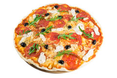 Pizza. Tasty pizza with vegetables, chicken and olives isolated on white.A popular pizza topping in American-style pizzerias stock image