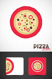 Pizza template design. Freshly baked pizza icon, template design of business card for Cafes and Pizza restaurants, Vector EPS10 Royalty Free Stock Photo