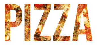 Pizza. Text banner sample over white Royalty Free Stock Photos
