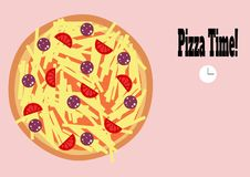 Pizza time clock colourful illustration royalty free illustration