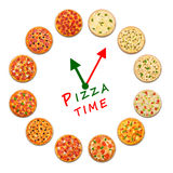 Pizza time. Clock from italian food. Royalty Free Stock Photography