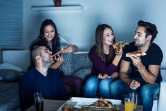 Pizza time for friends Stock Photos