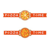 Pizza time sign or logo Royalty Free Stock Photo