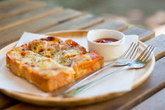 Pizza toasted bread. With tomato sauce and ham cheese selective focus - vintage style effect picture stock photos