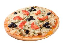 Pizza with tomato and eggplant Royalty Free Stock Images