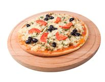 Pizza with tomato and eggplant Royalty Free Stock Photo