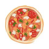 Pizza with tomato and mushrooms, sketch for your Royalty Free Stock Photos