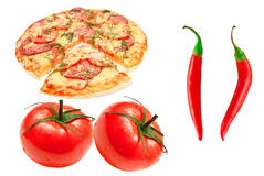 Pizza, tomato and red chili Royalty Free Stock Image