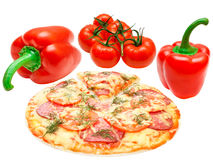 Pizza, tomato and red paprika Stock Image