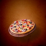 Pizza with tomato, salami and olives Stock Photo