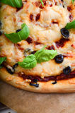 Pizza with tomato sauce and basil. Healthy, Diet pizza Royalty Free Stock Image