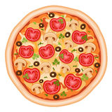Pizza with tomatoes. Tasty and healthy - pizza Margherita with tomatoes, mushrooms and olives. Isolated over white background. Vector file saved as EPS AI8, all Stock Photo