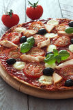 Pizza with tomatoes,chicken and mozzarella Stock Photography
