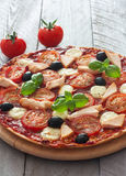 Pizza with tomatoes,chicken and mozzarella Royalty Free Stock Images