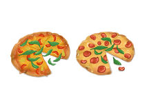 Pizza tomatoes ham cheese Stock Photos