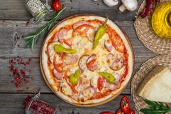 Pizza with tomatoes, mozzarella cheese. Delicious italian pizza stock images