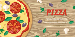 Pizza with Tomatoes, Olives, Mushrooms and Herbs Stock Photo