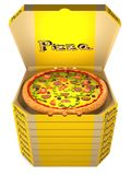 Pizza in the yellow box. Pizza with tomatoes, olives, sausage, and cheese in an open cardboard yellow box is on top of a stack of closed boxes of pizza. 3D Royalty Free Stock Image