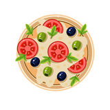 Pizza with Tomatoes and Olives Served Food. Vector Royalty Free Stock Image