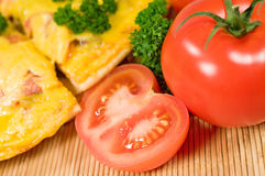 Pizza with tomatoes and parsley close up Royalty Free Stock Photo