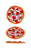 Pizza with tomatoes and sausage. Food top view, side view. Stock Image