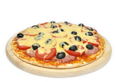 Pizza with tomatoes, sausage and olives Royalty Free Stock Photography