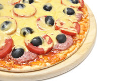Pizza with tomatoes, sausage and olives Stock Photos