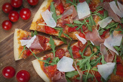 Pizza with tomatoes Royalty Free Stock Photo
