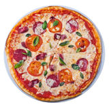 Pizza from the top. Tasty deluxe pizza from the top on white background Royalty Free Stock Photos