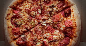 Pizza. With a top down view Royalty Free Stock Photo