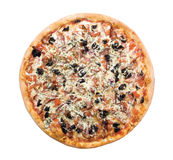 Pizza from the top. Isolated on a white background. Studio shot Stock Photos