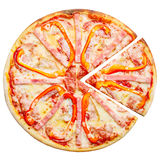Pizza top view Royalty Free Stock Images