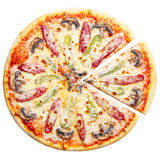 Pizza top view Royalty Free Stock Photo