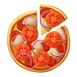 Pizza top view. Tomato, chicken, sausages or salami, red onion Royalty Free Stock Image