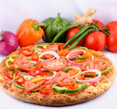 Pizza with toppings. Fresh and hot pizza for lunch everyday Royalty Free Stock Image