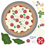 Pizza with toppings Royalty Free Stock Photos