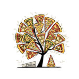 Pizza tree, sketch for your design Royalty Free Stock Photo