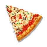 Pizza triangle shape, with mozzarella cheese and several ingredients on it. Airbrush illustration. At white background with clipping path included Royalty Free Stock Image