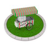 Pizza Trolley Cart over Round Plot of Dense Green Grass. 3d Rend. Pizza Trolley Cart over Round Plot of Dense Green Grass on a white background. 3d Rendering Royalty Free Stock Images