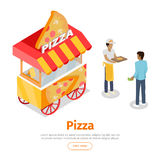 Pizza Trolley in Isometric Projection Style. Vector Stock Image