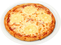 Pizza Tropicana. With cheese, bacon, pineapple  isolated Stock Photos