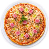 Pizza with tuna and capers. Full circle of Pizza with tuna, lettuce onions, olives and capers isolated over white background top view stock photo