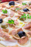 Pizza with Tuna, Onions and Olives Stock Photos